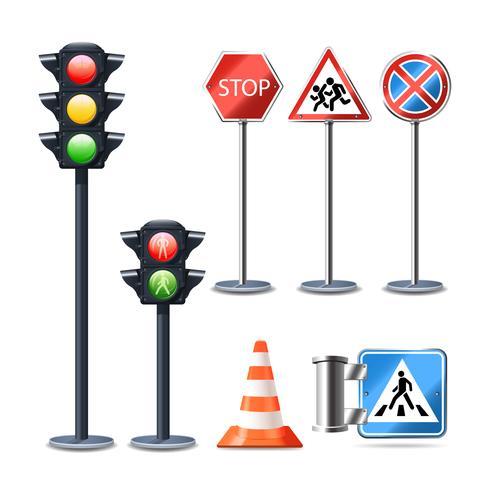 Sinal de trânsito e conjunto de luzes vetor