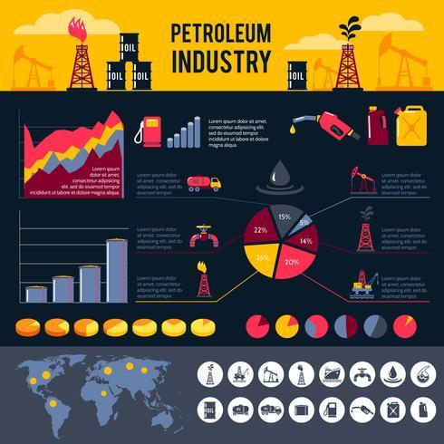 Conjunto de infográficos de petróleo vetor