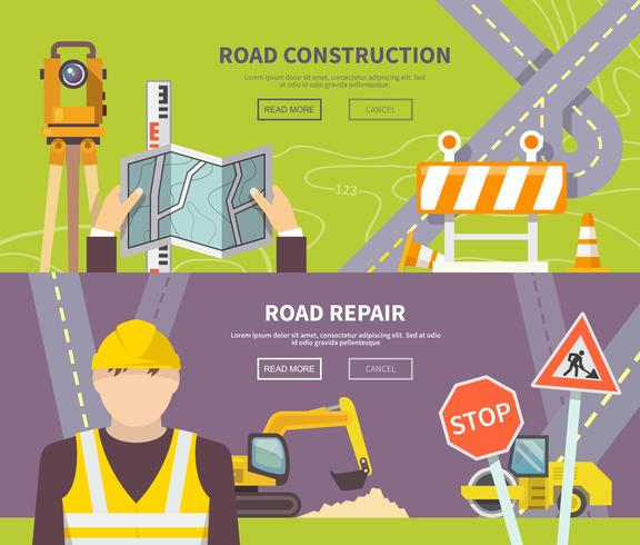 Banner de trabalhador de estrada vetor