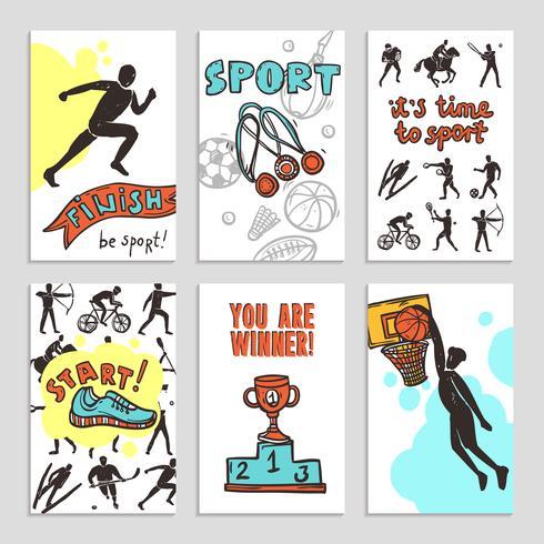Esporte Esboço Cartões vetor