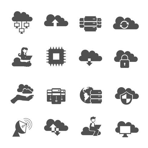 Ícones de computação em nuvem vetor
