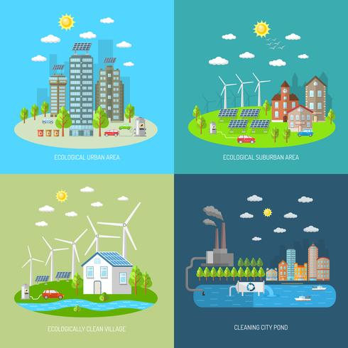 Conjunto de conceito de Design de cidade de eco vetor