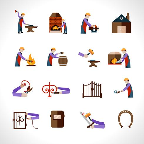 Conjunto de ícones de ferreiro vetor