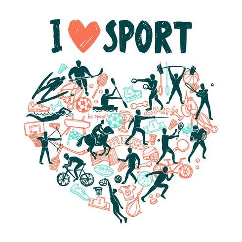 Conceito de esporte de amor vetor