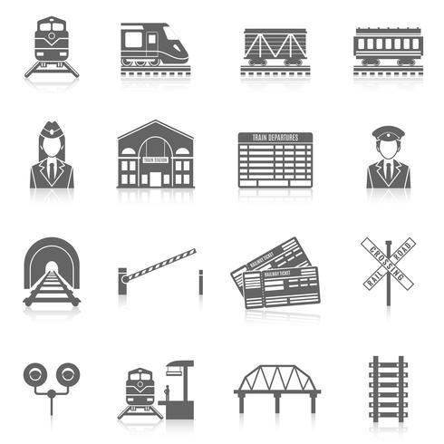 Conjunto de ícones de ferrovia vetor