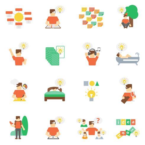 Conjunto de ícones de idéias plana vetor