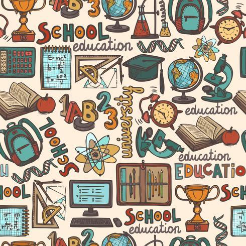 Padrão sem emenda de educação escolar vetor