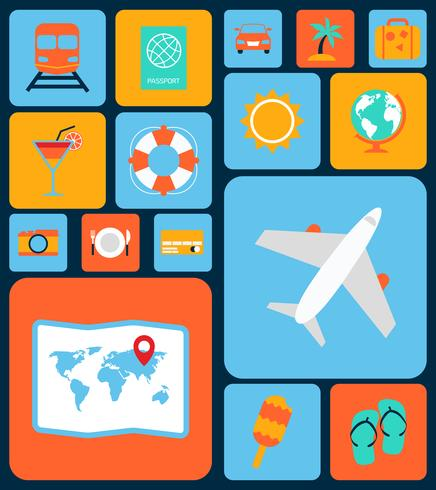 conjunto de ícones de viagens plana vetor
