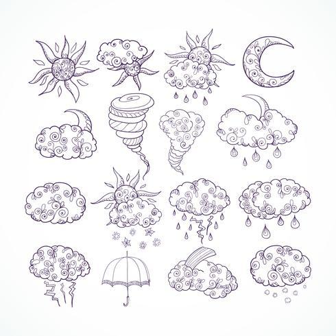 Símbolos gráficos de previsão do tempo de Doodle vetor