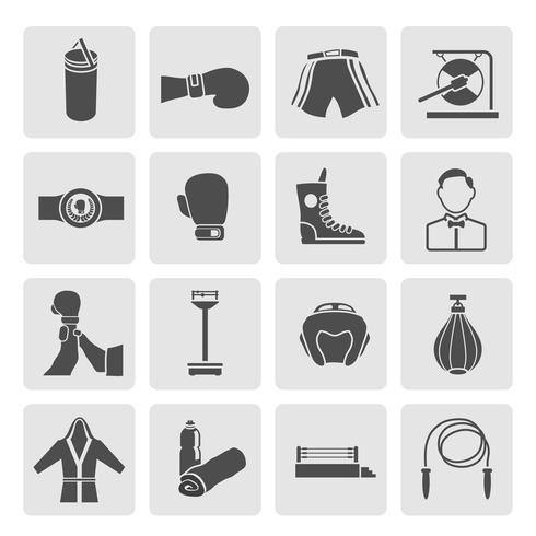 Conjunto de ícones de boxe vetor