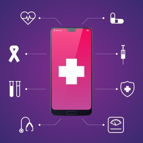 Cuidados de saúde on-line e consulta médica através de smartphone móvel vetor