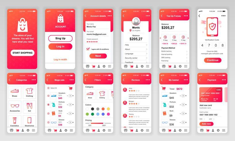 Conjunto de UI, UX, telas de GUI Compras app design plano modelo para aplicativos móveis, wireframes site responsivo. Kit de interface do usuário de Web design. Painel de compras. vetor
