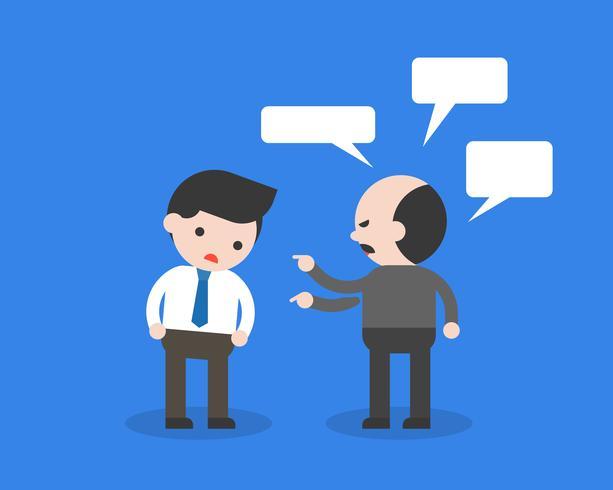 Chefe ou cliente exigente reclamam do funcionário vetor
