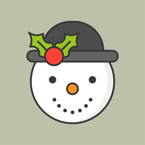 boneco de neve e chapéu de visco, ícone de contorno cheio para tema de Natal vetor