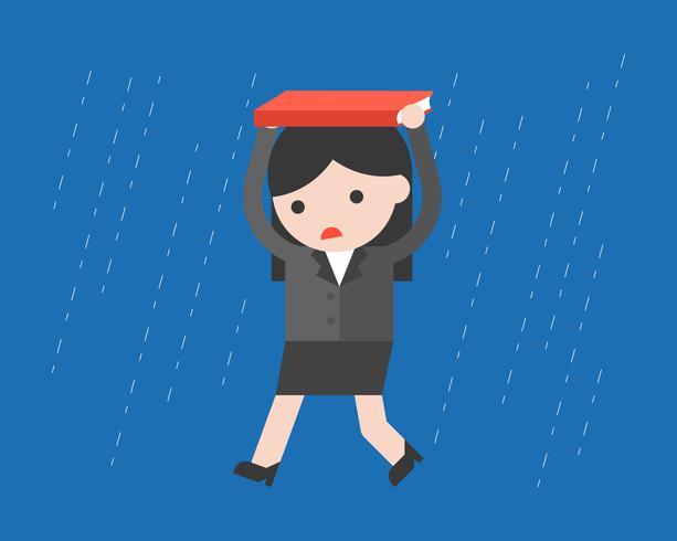 Empresária andando sob a chuva, design plano vetor