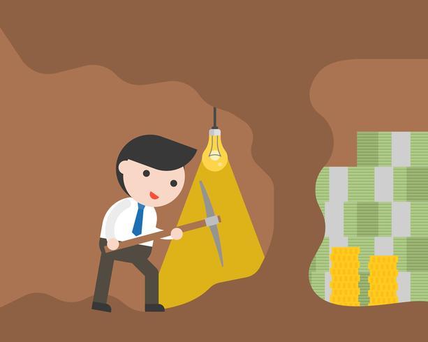 Homem negócios, com, picareta, cavando caverna, para, encontrar, dinheiro vetor