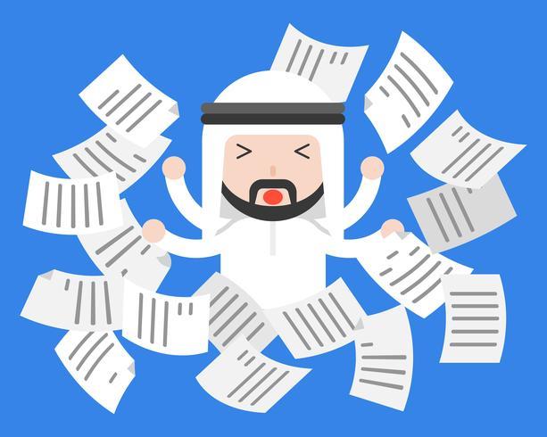 Empresário árabe bonito aflição ou frustrar com papel a voar vetor