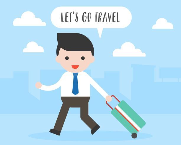 Homem de negócios puxar bagagem de viagem, vamos viajar conceito vetor