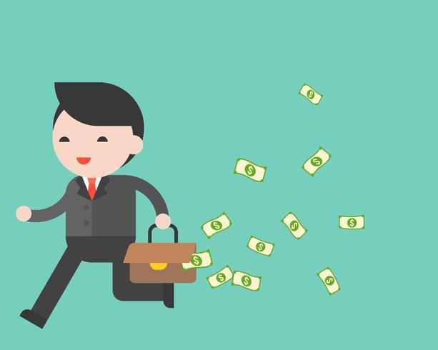 Homem negócios, executando, com, vazamento, bolsa dinheiro vetor