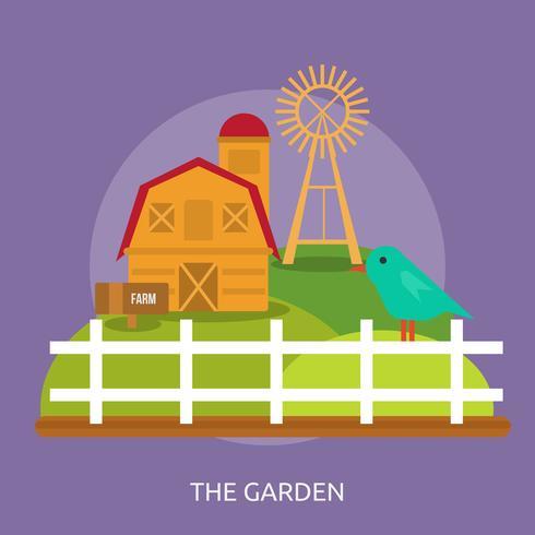 o projeto de ilustração conceitual de jardim vetor