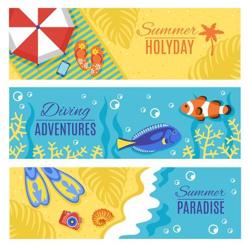 Conjunto de bandeiras horizontais de férias de férias de verão vetor