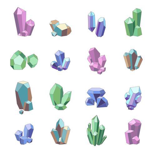 Conjunto de minerais de cristal vetor