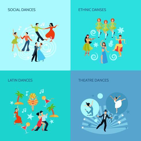 Conceito de estilos de dança plana vetor