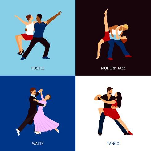 Conjunto de pessoas dançando vetor
