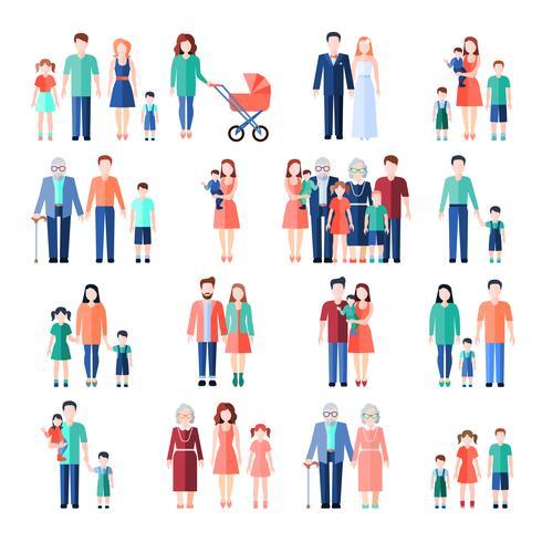 Conjunto de imagens planas de família vetor