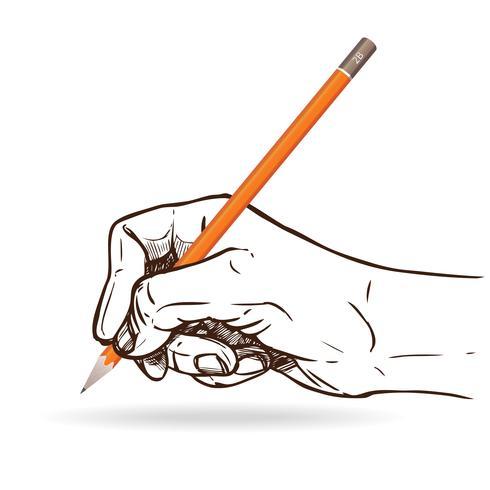 Mão segurando o lápis vetor