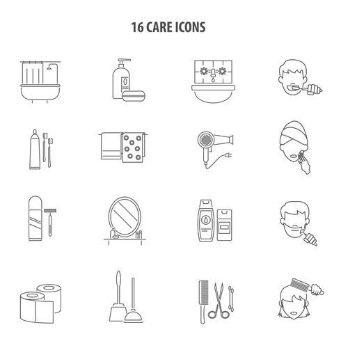 Linha de conjunto de ícones de produtos de cuidados pessoais vetor