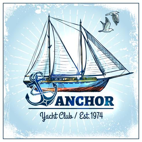 Cartaz do navio da vela vetor