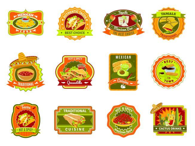 Conjunto de emblema de comida mexicana vetor