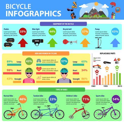 Conjunto de infográficos de bicicleta vetor