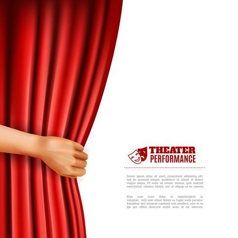 Mão, abrindo, teatro, cortina, ilustração vetor
