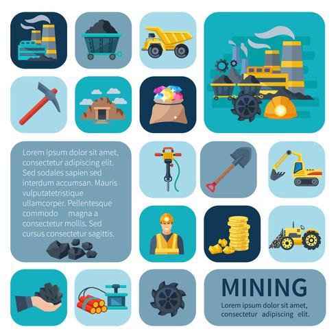 Conjunto de ícones de mineração plana vetor