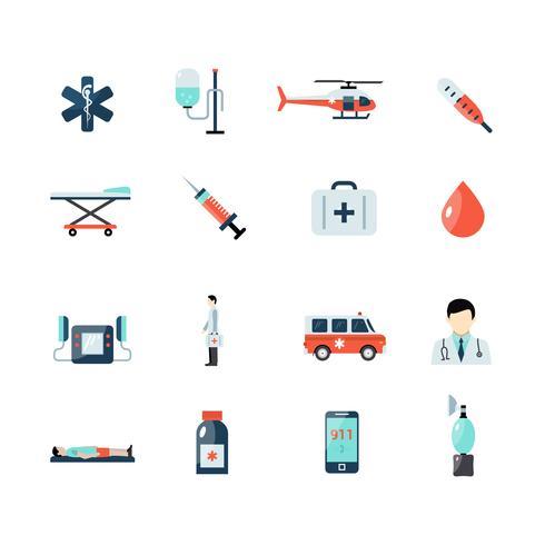 Conjunto de ícones de emergência paramédico vetor