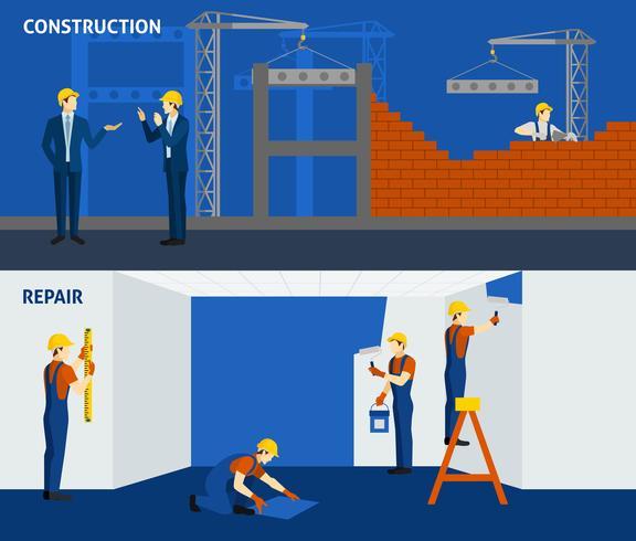 Construção de construção de reparação plana banners horizontais vetor