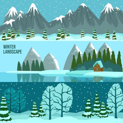 Banners de Panorama de paisagem de inverno vetor