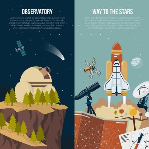 Banners verticais de astronomia vetor