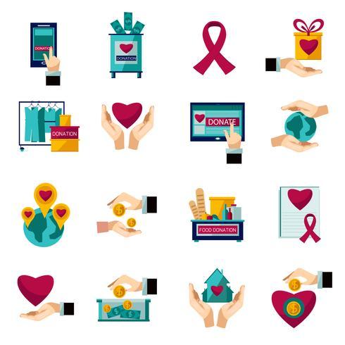 Conjunto de ícones plana de doação de caridade vetor