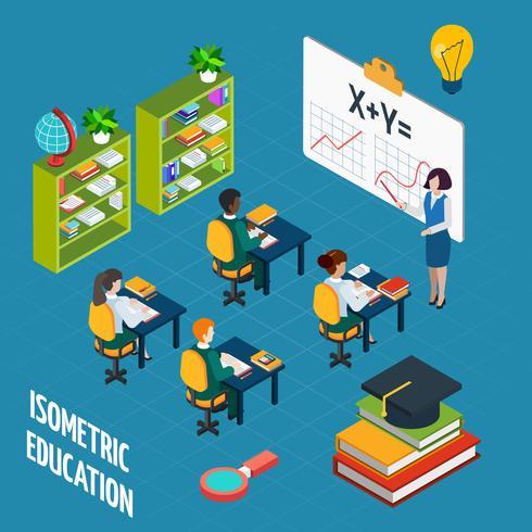 Conceito isométrico de educação escolar vetor