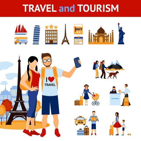 Conjunto de elementos de viagens e turismo vetor