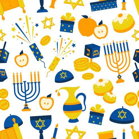 Padrão sem emenda com símbolos de Hanukkah vetor
