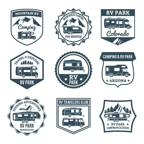 Emblemas de veículos recreativos vetor