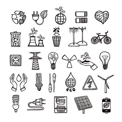 Conjunto de ícones de ecologia e energia vetor