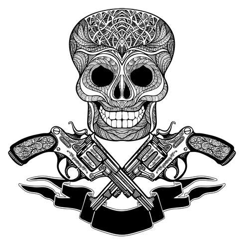 Armas Cruzadas Com Ornamentos Fita E Crânio vetor