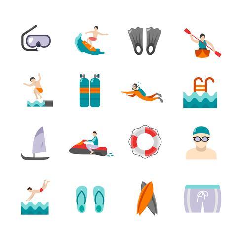 Conjunto de ícones de natação vetor