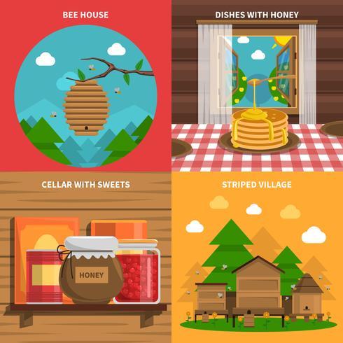 Conjunto de ícones de conceito de mel vetor