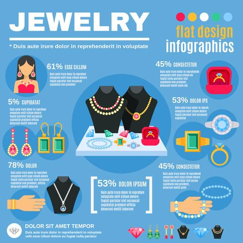 Conjunto de infográfico de jóias vetor